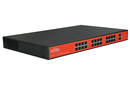 Wi-Tek WI-PS126G 10/100Mbps Switch PoE 250m (300W, 24 PoE + 2 GE)