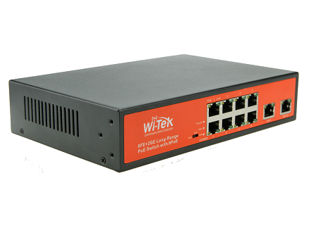 Wi-Tek WI-PS210G 10/100Mbps Switch PoE 250m (150W, 8 PoE + 2 GE)