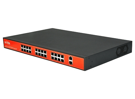 Wi-Tek WI-PS526G 10/100Mbps Switch PoE (150W, 24 PoE + 2 GE)